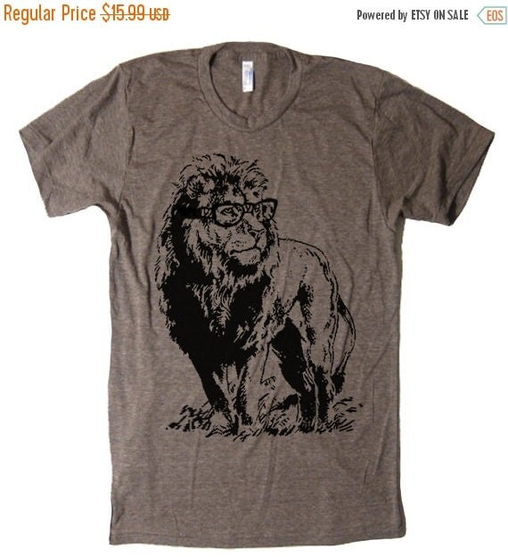 ON SALE Lion T Shirt Smart Lion T Shirt Funny T by lastearth