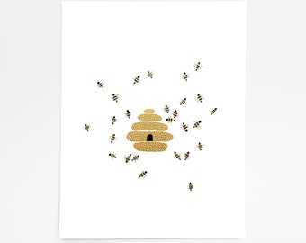 Buzzing Beehive - Art Print - 8x10