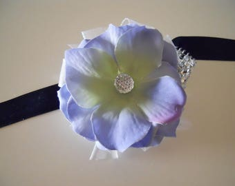 Blue Hydrangea Petals Wrist Corsage with Rhinestone Accent