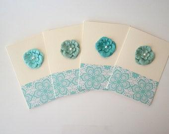 Flower Folded Cards Set - Note Cards Set - Stationary - Set of 4