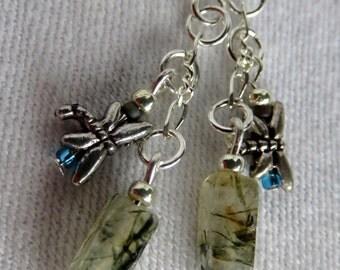 Labradorite Earrings, Dragonfly Earrings, Short Labradorite Dangle, Multi Charm Earrings