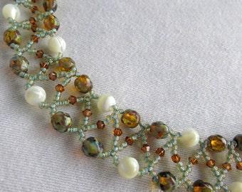Blue Copper Circle Choker Necklace Set, Mother of Pearl Necklace, Beadwoven Choker, Necklace Earring Set, Pale Blue Necklace Set,