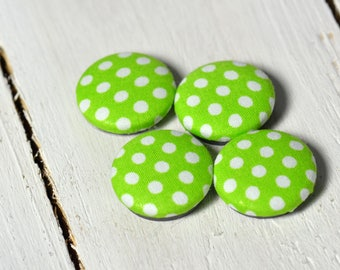 Fabric covered button magnets (4) –  Cotton Apple Green Polka Dots pattern - Strong magnets