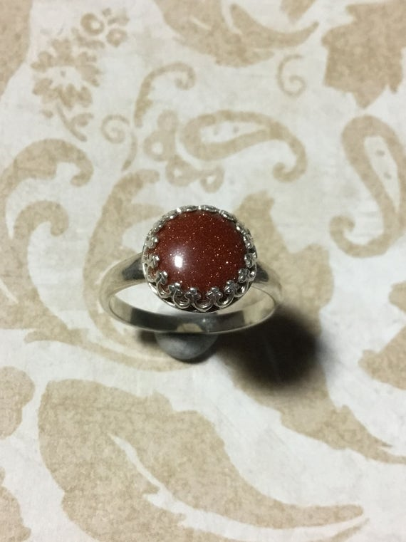 Brown Goldstone Ring, Sterling Silver, 925 Silver, Handset Jewelry, Rings, Women's Jewelry, Moonstone Jewelry, Crown Bezel Rings