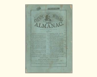 1880 Albany NY Evening Journal Almanac, Rutherford B. Hayes, National and State Election Returns, Weed Parsons & Co. Ephemerides Book