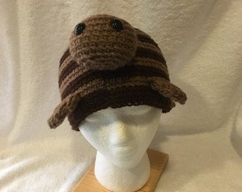 Crochet Turtle Hat in Shades of Brown