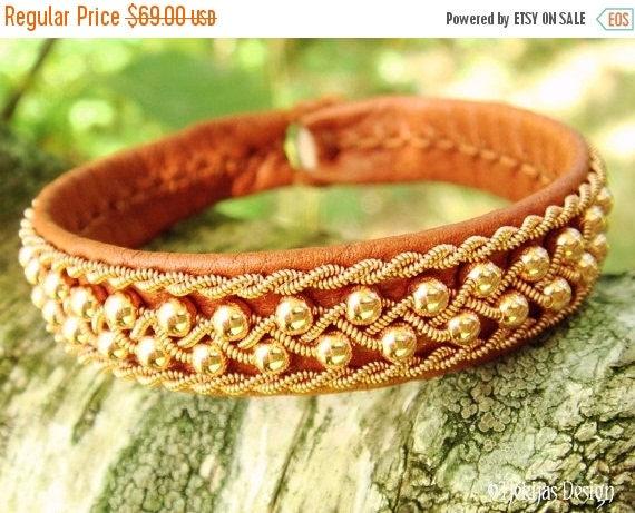 Sami Viking Bracelet ROSKVA Copper beads in Copper braid on silksoft Bark tanned Reindeer Leather - Custom Handcrafted Nordic Design