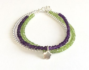Peridot Amethyst Sterling Silver Bracelet 3 Strand Layered Jewelry February August Birthstone