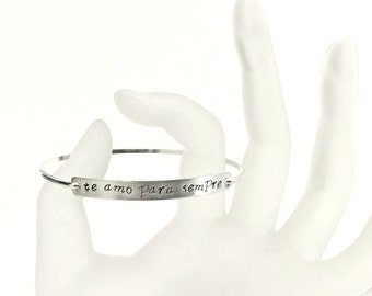 Sterling Silver Hand Stamped Bangle Bracelet Customized - Personalized Saying Portuguese Te Amo Para Sempre Love You Forever