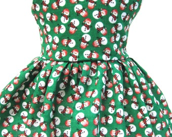 Mini Snowmen on Green, Winter and Holiday Dress