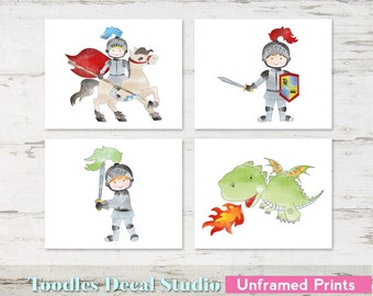 "Medieval Knights & Dragon Wall Art Prints for Nursery, 8"" x 10"" Knights Prints, Unframed Dragon Art, Children Wall Art"