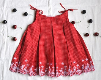 3T  Red and White Mini Polka Dot Dress with Box Pleats