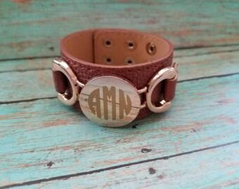 Brown bracelet - brown faux leather bracelet - brown monogram bracelet - tan bracelet - personalized bracelet - personalized jewelry