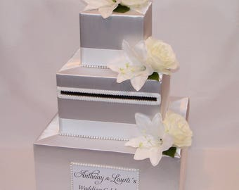 WHITE on WHITE Wedding Card Box-Silk Flowers, Pearl accents