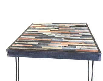 "25% OFF Sale -30"" square  Barn wood Coffee Table - Industrial - Mid-Century Modern - Contemporary - Rustic Zen - Mosaic Pattern"
