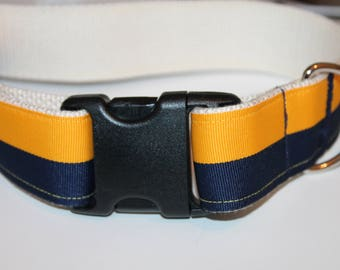 XL Dog Collar Striped Yellow and Navy Wide Dog Collar Preppy Large Dog Collar Boy Dog Collar Giant Dog Collar XL Wide Dog Collar Winter Dog