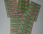 F 5 sheets green Christmas jukebox title strips all different ephemera vintage paper supplies scrapbook altered art 1980's music