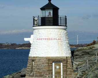 CASTLE HILL LIGHTHOUSE  Newport Rhode Island  5x7 photo greeting card blank inside. Stationary, home decor. Card stock acts as mat.