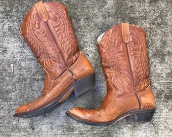 Vintage womens tan leather alligator print cowboy boots size 8.5