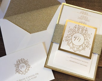 Wedding Invitations - Gold Wedding Invitation - Glitter and Gold Wedding Invitations - Free RSVP Envelope Printing