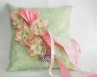 SALE Green Brocade Ring Bearer Pillow/Wedding Pillow for Garden Wedding, Wedding Cushion, Pantone Greenery Ring Pillow, Greenery Wedding