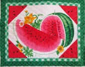 Pre-Quilted Placemat Fabric Panel, 3 Placemats per Panel, Watermelon Place Mats, Summer Garden Placemat Fabric, Table Linens, Shower gift