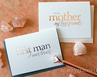 ROSE GOLD FOIL Wedding Card to Your Mom & Dad, Mother of the Bride Cards Card from Daughter, First Man I Ever Loved Father (Set of 2) CS08