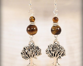 Tree of Life Earrings, Tiger Eye Beaded Dangle Pierced or Clip-on Earrings. Woodland Earrings, OOAK Handmade Earrings. CKDesigns.US