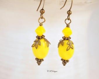 Victorian Style Earrings, Yellow Czech Glass Earrings,  Boho Earrings, Vintage Style Pierced or Clip-on Earrings, Handmade Earrings