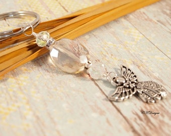Elegant Beaded KeyChain, Angel Charm Keychain. Gift for Her, Decorative Key Chains, Chunky Beaded Keychain OOAK Handmade Key Ring.