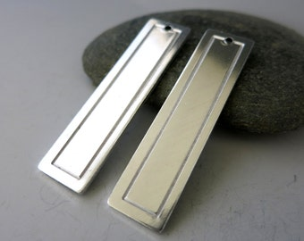 """Aluminum Bordered Rectangle Blank, 1 13/16x7/16"""", 6 or more, Long Stamping Blanks, Ready to Ship"""