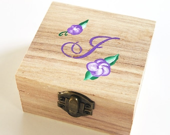 Will You Be My Bridesmaid, Monogram Box, Personalized Jewelry Box, Bridesmaid Proposal Box, Victorian Violets Wooden Purple Jewelry Box Ring