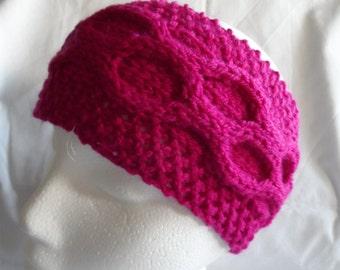 Hand knitted Dark Raspberry Pink Earwarmer or Headband