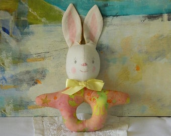 Soft Toy Bunny Rattle - Infant Room Decor - Baby Shower Gift - Peach Yellow Rattle - Handmade Toy - Baby's First Toy - Easter Basket Gift