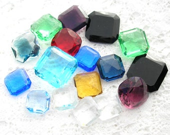 Collection of Square Glass Jewels