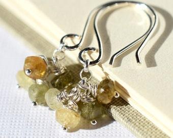 Green Garnet Earrings, Grossular Garnet Earrings Sterling Silver, Green Garnet Cluster Earrings, Gemstone Cluster Earrings, Olive Green