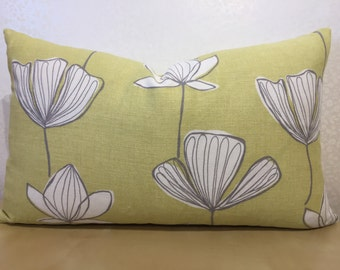 Lumber cushion cover in CHARTREUSE. SCANDI inspired design of flower in white and beige. John Lewis fabric GINGKO lime yellow linen cover.