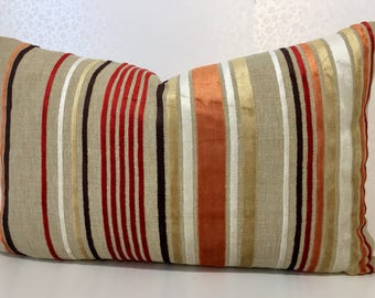 Lumber ORANGE and RED STRIPE cushion cover with white, taupe & brown cut narrow velvet stripes linen rectangle cover by MoGirl Designs