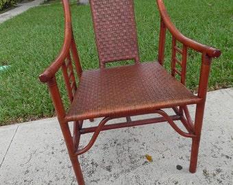 ASIAN FLAIR CHAIR / Single Rattan Asian Pagoda Chair / Cinnabar Painted / Chinoiserie Chic