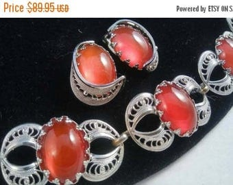 Now On Sale Vintage Red Stone Bracelet Earring Set - 1940's 1950's Demi Parure - Art Deco Jewelry