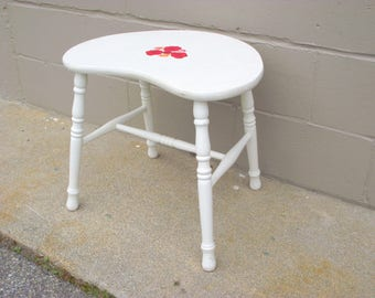 Kidney Stool 1940's - Shabby Country Cottage White with Roses - Vanity Table Chair - American Retro