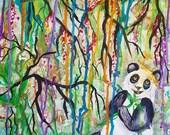 Panda painting, chinese, japanese, bamboo forest, chinese art, wall art, home decor, asian, panda tattoo, panda gift, panda art, panda bear