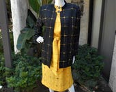 Vintage 1980's Baron Peters Black & Yellow Silk Dress and Jacket Set - Size 14