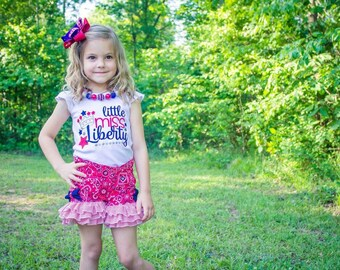 Little Miss Liberty outfit, ruffle shorts, patriotic outfit, applique shirt,