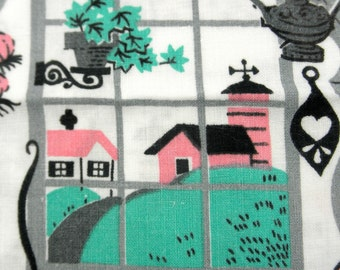 Midcentury Kitchen Fabric Cotton Pink Kitsch Novelty Print Retro Farmhouse 50s Home Decor Curtains Pillows Vintage Crafting Quilting Sewing