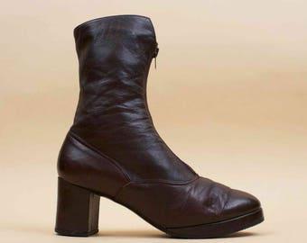 60s 70s Vtg Genuine Leather Platform ZIPPER Front Ankle Boots / Chunky Heel MOD Hippie Boho Biker Glam Rock / 7.5 Eu 38
