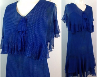 Vintage 1930s Blue and White Polka Dot Tiered Silk Sleeveless Dress with Flutter Sleeves / Women's XS / 30s Art Deco Flapper Dress