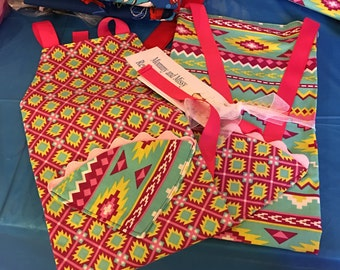 Mommy and Sissy Reversible Apron Set Hot Pink and Aqua