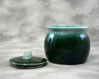 Sugar Bowl Bean Pot Green Agate by Hull