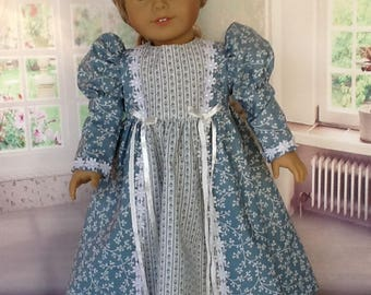 18 inch doll Edwardian style dress. Fits American Girl Dolls. Blue and Ivory .